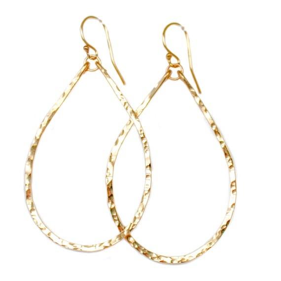 Teardrop Hoop Earrings / Teardrop Earrings / 14K Gold