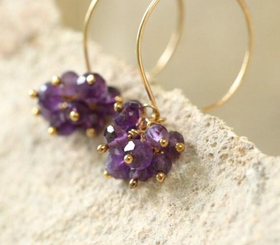 Gold amethyst earrings, February birthstone jewelry, amethyst cluster earring, gemstone jewelry under 50 - Nicola