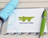 Boys Gator Personalized Stationery / Personalized Stationary / Personalized Note Cards / Stationery Set - Boys Gator Notes Design