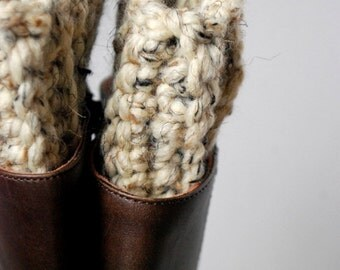 Super Chunky Boot Cuffs - Oatmeal Crocheted Cuffs, Leg Warmers, Boot Socks, Chunky Winter Accessories, Cold Weather Wear, Crochet Boot Cuffs