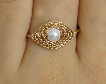 gold ring, evil eye ring, pearl ring, evil eye, adjustable ring, gold pearl ring, thin pearl ring, band ring, thin gold ring, gold fill ring