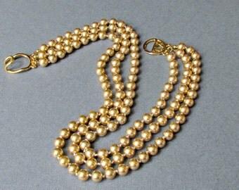 Kenneth J Lane Gold Pearl Necklace Triple Strand