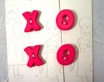 Alphabet Buttons Bright Pink X O Cute for Sewing or Crafts