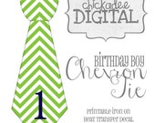 1 Birthday Tie Green and Navy Chevron Printable DIY Iron On Tie Decal, baby, boys, Iron on tie for bodysuits and tshirts