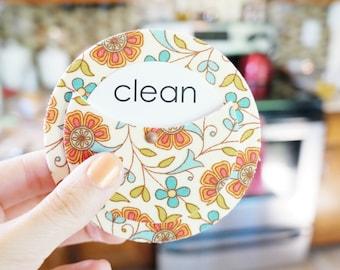Floral Home Decor | Clean Dirty Dishwasher Magnet | Orange Kitchen Decor | Vintage Inspired Kitchen Decor | Spring Finds Gift for Her