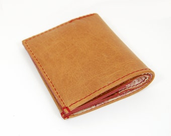 Tan Brown Leather Wallet Liberty Of London Lining Handmade