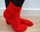 Hand Knit Wool Socks Red Cables Short Slippers Christmas Winter