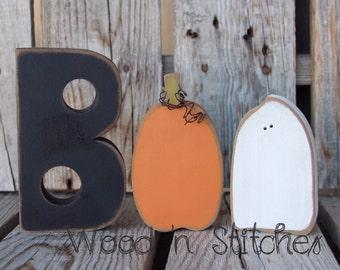 Boo Halloween ghost pumpkin wood block set seasonal home decor holiday sign fall autumn photo prop gift autumn fall pumpkin ghost