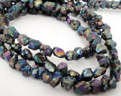 "Mystic Metallic Pyrite Nugget - Rainbow Titanium Beads - Rough Cut Chip Nugget Beads - 8"" Strand - Genuine Pyrite Beads - DIY Jewelry Making"