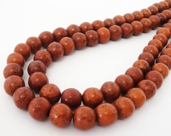 Howlite Round Beads - Cinnamon Brown - Gemstone Smooth Ball Beads -  10mm 16 Inch Strand - Diy Craft Beads for Jewelry Making