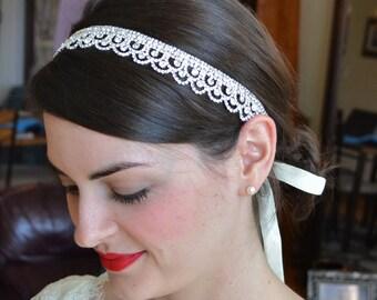 Rhinestone Bridal Headband, Diamante Bridal Hairband, Wedding Headband, Bridal Halo, Rhinestone Lace Headpiece, Wedding Headpiece