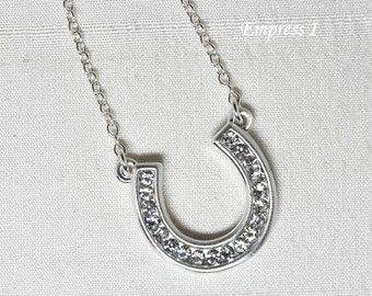 Rhinestone Horseshoe Necklace, Luck Necklace, Good Luck Necklace, Horseshoe Necklace, Silver Horseshoe Necklace, Clear Crystal Jewelry, Gift