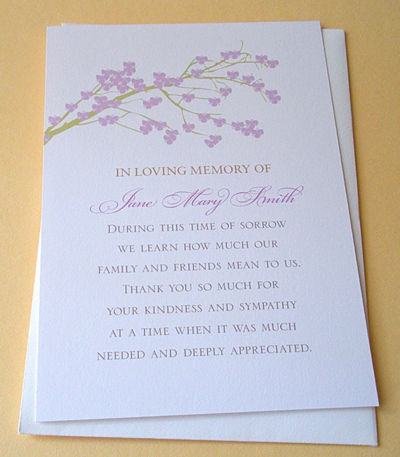 sympathy thank you cards with a branch of purple