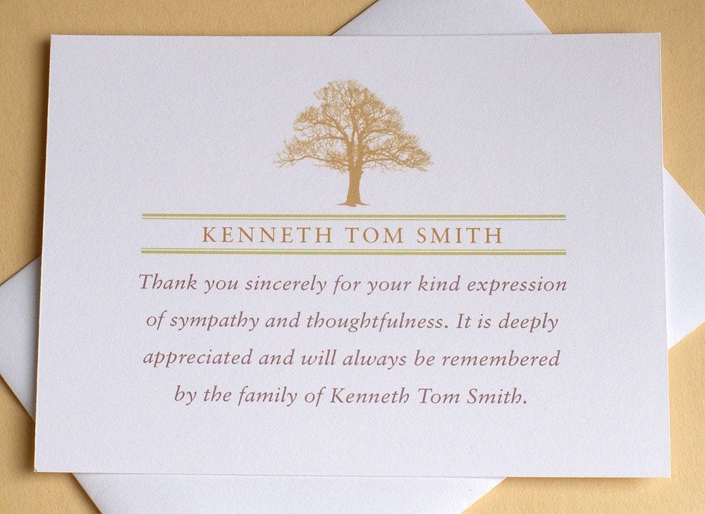 Funeral Thank You Notes With A Strong Tree Personalized