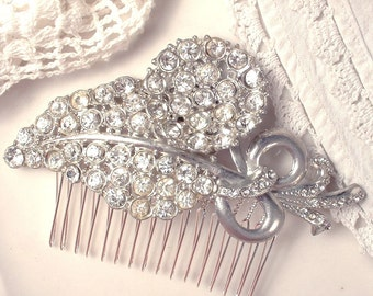 Bridal Hair Comb OoAK 1920s Wedding Hair Comb Rhinestone LARGE Brooch Clear Crystal Bridal Headpiece Vintage Art Deco Haircomb 20s Antique
