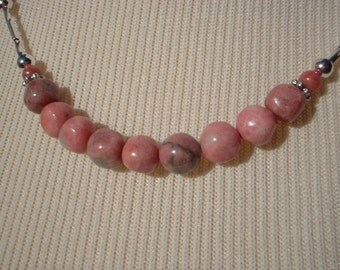 Rhodonite and Silver Tube Necklace
