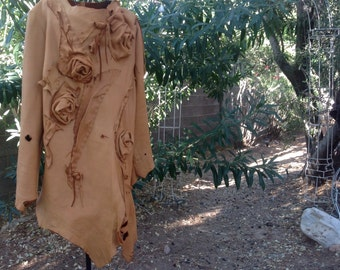 showdiva designs Butterscotch Asymmetrical Leather Coat with Vines of  Hand Sculpted Flowers
