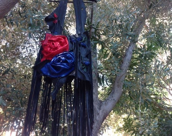 showdiva designs Red Blue Black Purse Bag Dripping with Fringe and Hand Sculpted Flowers