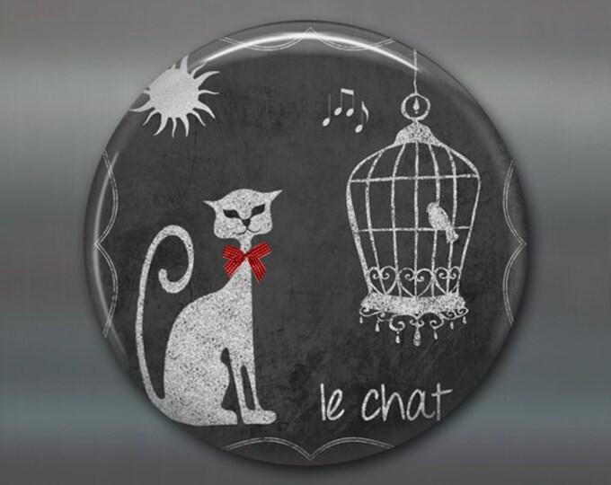"3.5"" white cat magnet, home decor, kitchen decor, cat and bird cage decor,  big fridge magnet, cat decor, large magnet  MA-1000"