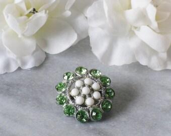 Green Rhinestone Pin Round Brooch White Enamel Peridot Vintage