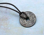 Leather Surfer Necklace With Chinese Lucky Coin Pendant