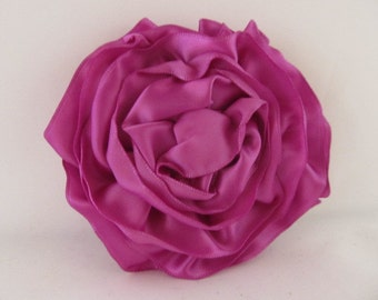 Ribbon Rose Pin-Hair Clip-Brooch-Purple-Satin
