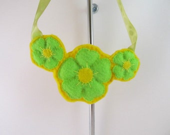 Felt Flower Necklace-Yellow and Lime Green Necklace-Felt Necklace