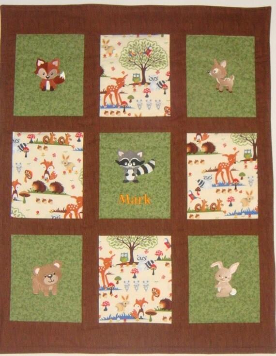 Embroidered Woodland Animals Baby Quilt Blanket By Nefsewsuite
