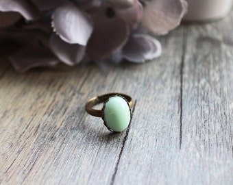 Pale Mint Cameo Ring. spring collection. gift for her. birthday gift