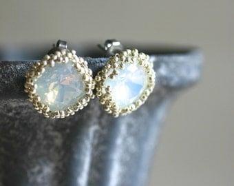 Swarovski Crystal Stud Earrings - Milky White / Silver