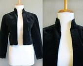 Velvet Jacket  Vintage Lanz Black Crop 1980s Small