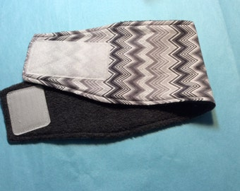 Male Dog Diaper - Belly Band - Black, Gray and White Chevron - Available in All Sizes