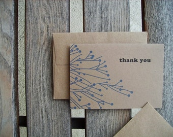 Blue Winter Berry Thank You Cards - Kraft Paper Thank You Notes Blue Botanical Collection, Blue Winter Berry Branches, Seasonal Thank You's