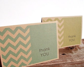 Chevron Thank You Cards - Color Block Chevron Thank You Notes, Kraft Paper Rustic Modern Chevron Stationery Set, Custom Color Note Card Set