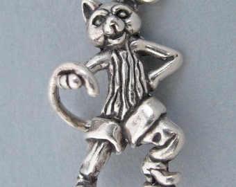 Sterling Silver 925 Charm Pendant 3d PUSS' N BOOTS CAT Kitty 3170