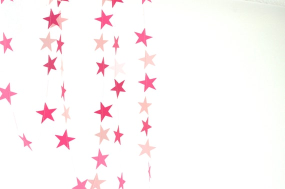 Pink Stars Garland - light and dark pink