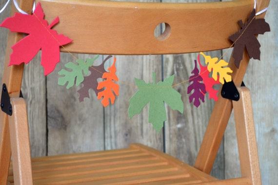 Autumn Leaves Chair Garland  festive fall garland in red, burgundy, goldenrod, moss green and brown