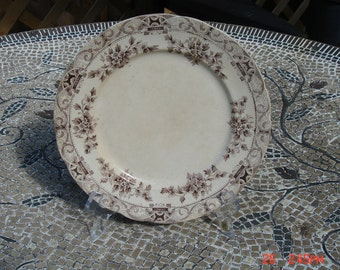 Antique Semi Porcelain Anchor Pottery Co.Brown Transferware Dish/Plate- Beautiful