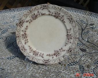 Antique Semi Porcelain Anchor Pottery Co.Brown Transferware Dish/Plate- Beautiful