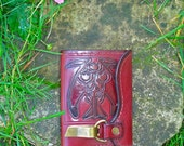 Ladies Leather Wallet Hand Tooled Burgundy Roses