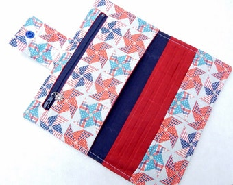 Red, Blue Wallet, Womens Wallet, Red, Blue Pinwheel Clutch, Bifold, Handmade Wallet
