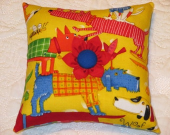 Pincushion - Large Square Over-Stuffed Pin Cushion - Red, Blue, Orange and Green fabric