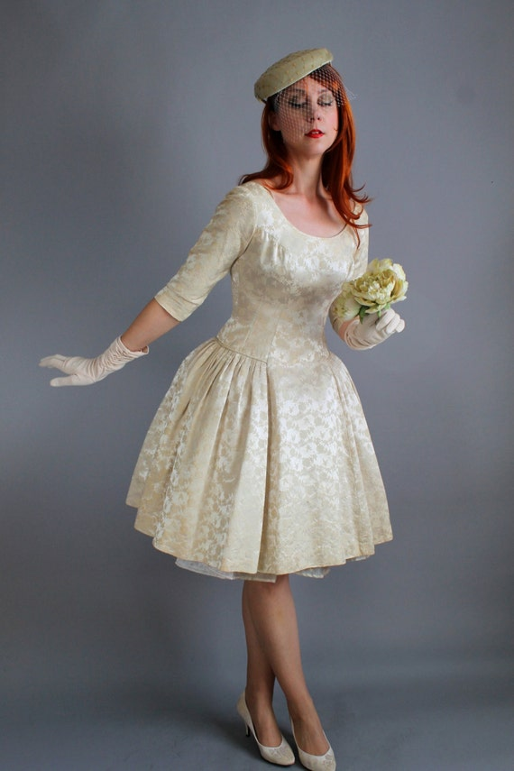 Cyber monday sale 1950s cream brocade winter wedding dress for Cyber monday wedding dresses