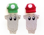 Mushroom Twin Kids Costume, Mario Mushroom Baby Costume