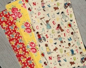 Handmade Baby Burp Cloth Gift Set Red Yellow Floral Set of 3 boutique style
