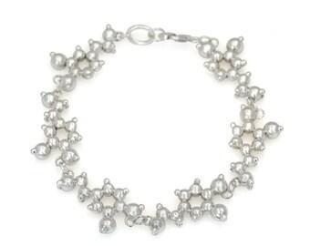 Dopamine Molecule Silver Bracelet