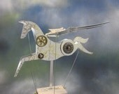 Large Steampunk Aluminium Pegasus Automata in white and gold