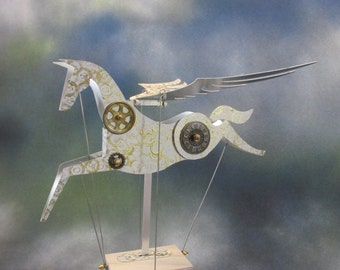 Large Steampunk Aluminium Pegasus Automata in white and gold