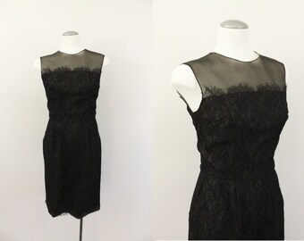 vintage 50s dress - 1950s lace overlay dress - deep brown 50s wiggle dress -