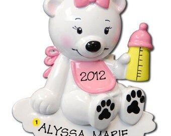 Personalized  Baby's First Christmas Ornament Polar Bear BabyGirly - Newborn, Baby Shower Gift